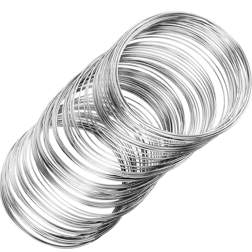 Loop Jewelry Wire Beading Wire Bracelet Memory Wire Cuff Bangle for Wire Wrap Jewelry DIY Making, About 400 Pieces (Dark Silver)