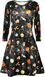 Fuumiol Women Halloween Casual Bat Spider Web Skull Print Mini Dress Long Sleeve O Neck Pleated Knee Length Swing Dress