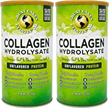Great Lakes Gelatin, Collagen Hydrolysate, Unflavored Beef Protein, Kosher, 16 oz Cans (Pack of 2)