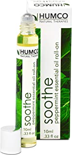 Humco Soothe- Peppermint Essential Oil Roll On -.33 oz, 100% Natural Peppermint Oil Diluted with Sunflower and Avocado Oil