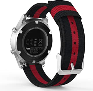 MoKo Gear S3 Watch Band, 22mm Fine Woven Nylon Adjustable Replacement Sport Strap for Samsung Gear S3 Frontier/Classic/Galaxy Watch 46mm/Ticwatch pro/E2/S2/Huawei Watch GT 46mm, Black & Red