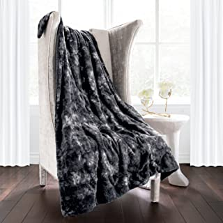 Italian Luxury Super Soft Faux Fur Throw Blanket - Elegant Cozy Hypoallergenic Ultra Plush Machine Washable Shaggy Fleece Blanket - 60 inches x 70 inches - Charcoal