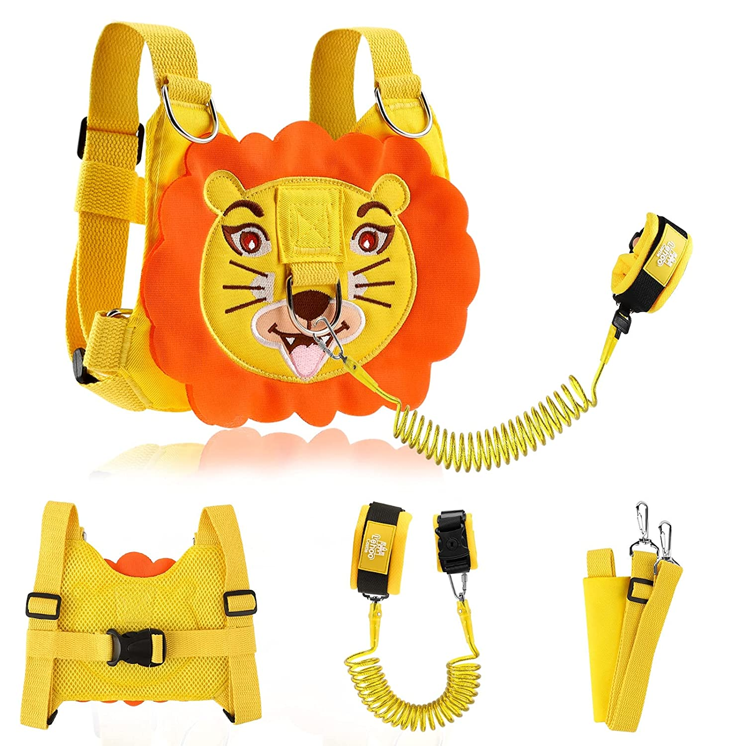 Lehoo Castle Toddler Leashes for Walking Lion, 2 in 1 Kids Safety Harness + Anti Lost Wrist Link with Lock, Baby Leash Harness for Walking Boys and Girls (Yellow)