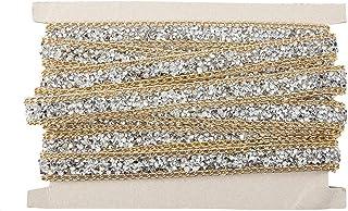 Gouden rand 15mm sprankelende strass lint mesh wrap roll, 5 werven zilveren DIY strass mesh lint, voor Home decor kleding ...