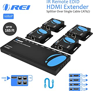 OREI 1x4 HDMI Extender Splitter Multiple Over Single Cable CAT6/7 1080P with IR Remote EDID Management - Up to 165 Ft - Loop Out - Low Latency - Full Support