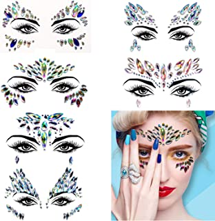 Kotbs 6 Sets Mermaid Face Gems Glitter, Rave Festival Face Jewels Glitter Body Crystal Face Stickers, Eyes Face Body Temporary Tattoos, Face Jewels Sticker