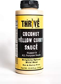 Thrive Sauce Vegan Multi-Purpose Asian Sauce, Gluten-free & Dairy-free - Coconut Yellow Curry, Brightly Spiced (Mild) - 1 Bottle