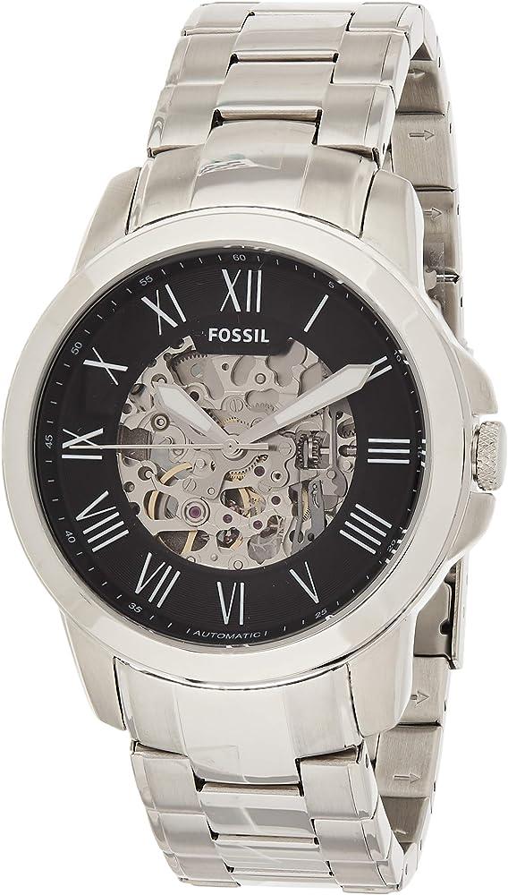 Fossil grant silvertone orologio automatico da uomo in acciaio con finitura lucida e satinata ME3103