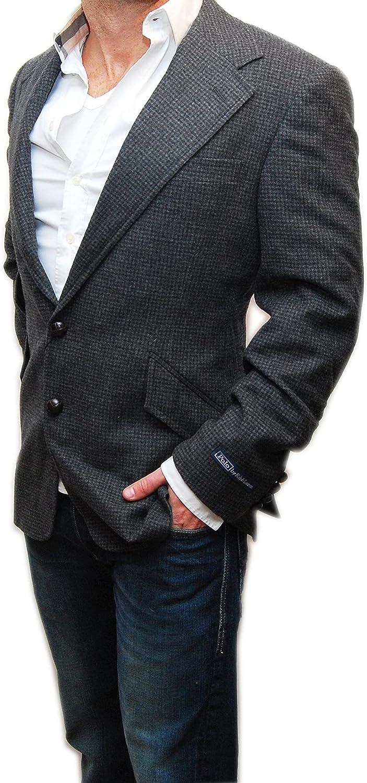 Ralph Lauren Polo Mens Hacking Wool Blazer Sport Coat Jacket Italy Black Elbow Patch 40S