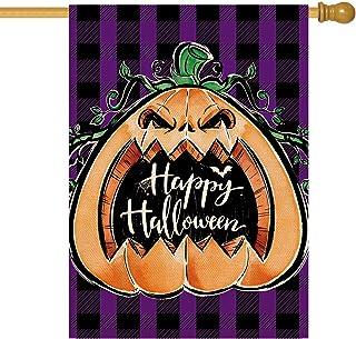علم ORTIGIA Happy Halloween Garden House Flag Buffalo Check Plaid Pumpkin Yard Flag الخيش عمودي مزدوج الجانبين مضحك مزرعة ...