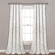 "Lush Decor, White Ravello Pintuck Window Curtain Panel, 84"" x 52"", 84"" L"