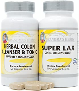 Grandma's Herbs Bundle Super LAX with Herbal Colon Cleanser All Natural Toxin Bowel Cleanse
