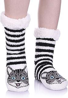 NOVCO Womens fuzzy Cozy Cute Cartoon Animal Non-Slip Winter Thermal Slipper Socks