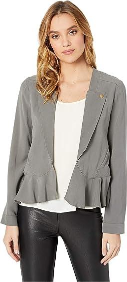 Peplum Woven Long Jacket