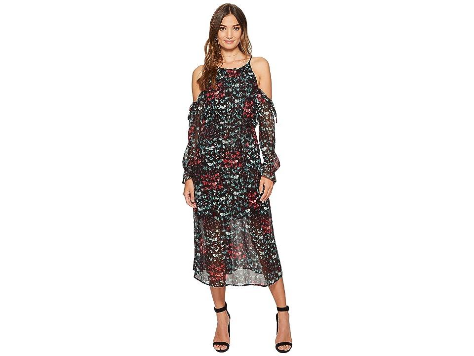 1.STATE Halter Neckline Cold Shoulder Maxi Dress (Rich Black) Women
