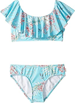 Tahitian Skies Ruffle Tankini Set (Little Kids/Big Kids)