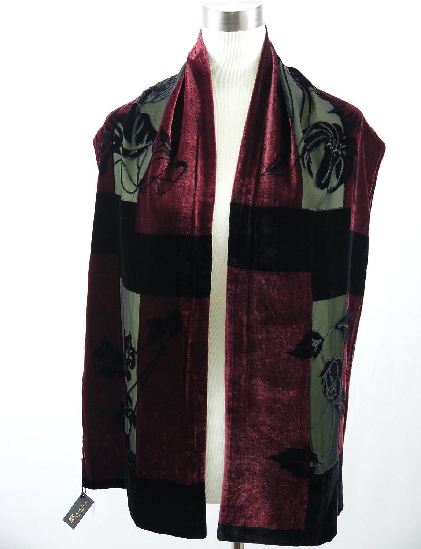 66 x13  100% silk Velvet Elegant Scarf stole color  Black Green & Wine