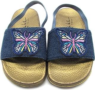 Toddler and Little Girls Denim Artwork Slide Sandals