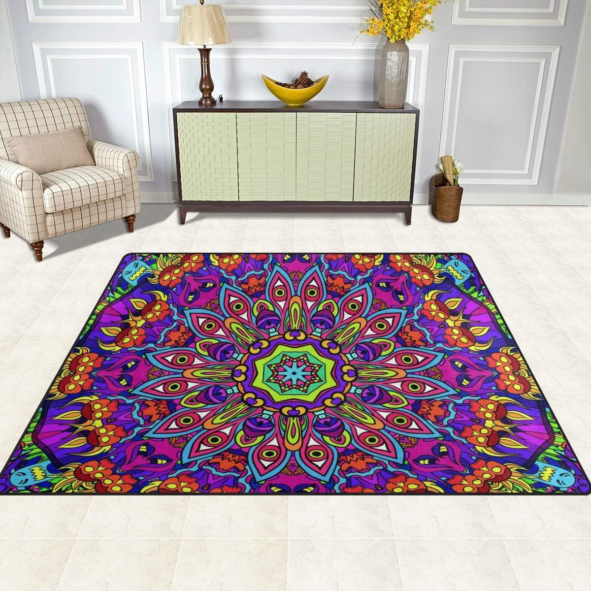 50 x 80 cm Alfombra Antideslizante para sal/ón Dormitorio dise/ño de Mandala Floral Comedor Naanle 1.7 x 2.6 Cocina 120 x 160 cm