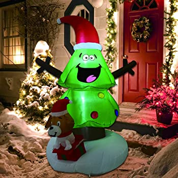 GOOSH Christmas Outdoor Decorations Inflatable Tree Claus Climbing on Christmas Tree Chased by Dog and Giftbox Decoration (6 Foot Christmas Inflatable Tree)