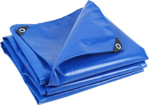 DONGYUER Tente extérieure Bache imperméable épaissir la bache résistante Utilisation de la Voiture Tissu Anti-Pluie écran Solaire Toile de Pluie Auvent Bleu avec Corde,4  6m