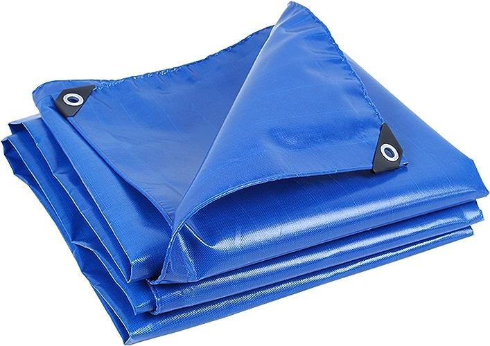 DONGYUER Tente extérieure Bache imperméable épaissir la bache résistante Utilisation de la Voiture Tissu Anti-Pluie écran Solaire Toile de Pluie Auvent Bleu avec Corde,3  5m