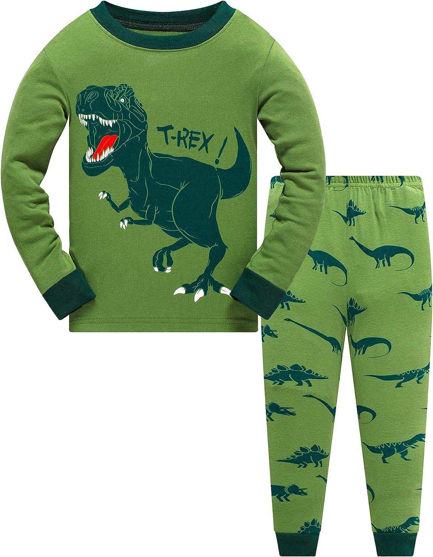 Toddler Boys Planet Pajamas Dinosaur Cotton Kids Rocket 2 Piece Train Kids Pjs Sleepwear Clothing Sets