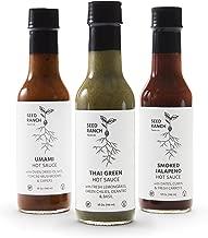 Seed Ranch - Umami, Thai Green, Smoked Jalapeño (Variety 3 Pack, Mild to Medium) - Organic Gourmet Hot Sauces
