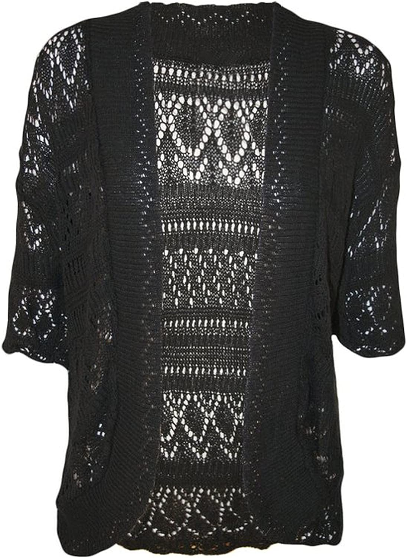 FashionMark Plus Size Women's Crochet Knitted Cardigan Shrug