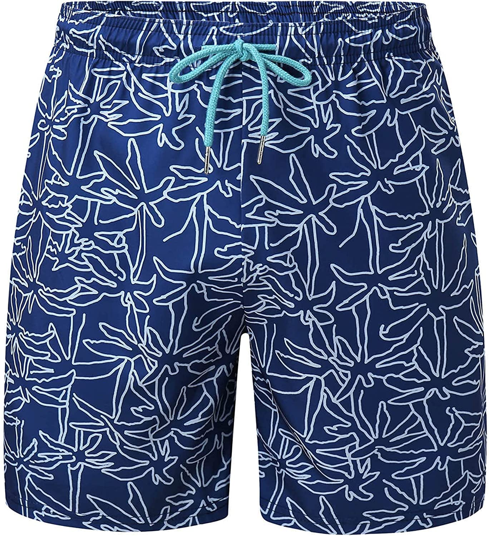 Men's Floral Drawstring Quick Dry Swim Shorts Swim Trunks, Swimwear Beach Shorts Swimming Board Shorts with Pockets