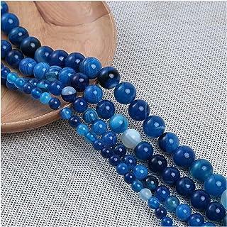 An114 4/6/8/10/ 12mm natuurlijke blauwe gestreepte agates natuursteen ronde spacer kralen voor sieraden maken DIY Armband ...