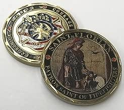 Aizics ST. Florian - Patron Saint of Firefighters - Beautiful Challenge Coin - Honor - Sacrifice - Courage - Duty