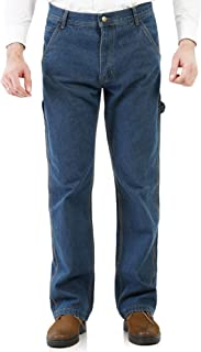 Saint Alics Men's Relaxed Fit Carpenter Jeans with Hammer Loop Industrial Straight Denim Workwear Pants
