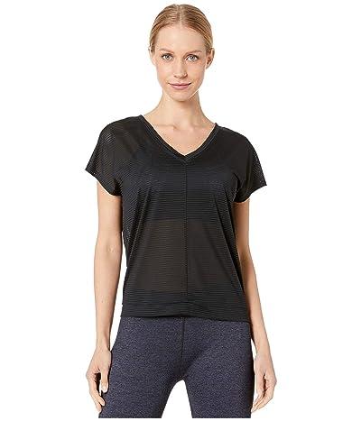 Splendid Studio V-Neck Sheer Stripe Top (Black) Women