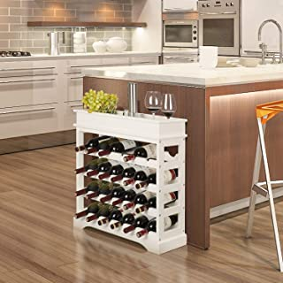 Homfa Botellero de Madera para 24 Botellas de Vino Apilable con Bandeja Botellero Estante de Vino con 4 Niveles MDF Color Blanco 70x23x83cm