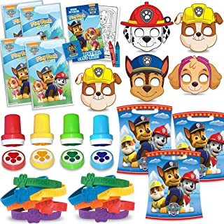 Paw Party Favors - 16 of each Item - 16 Mini Paw Patrol Play Packs + 16 Masks + 16 Paw Bracelets + 16 Paw Stampers + 16 Loot bags. Great for Kids Birthday Party Favors, Prizes, pinata fillers, giveaways, and goodies
