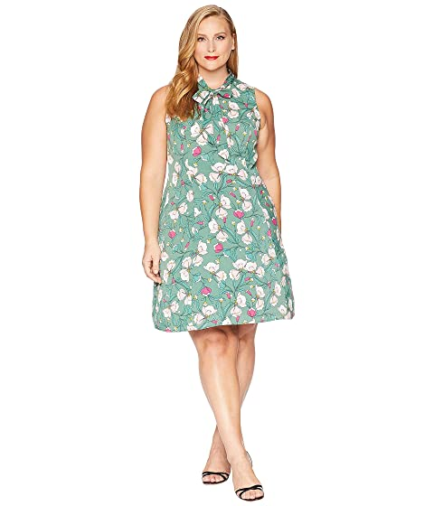 60s 70s Plus Size Dresses, Clothing, Costumes Unique Vintage Plus Size 1960s Style High Neck Chancey Flare Dress GreenPink Floral Womens Dress $78.00 AT vintagedancer.com