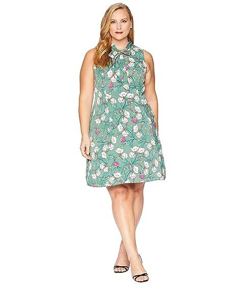 Plus Size Swing Dresses, Vintage Dresses Unique Vintage Plus Size 1960s Style High Neck Chancey Flare Dress GreenPink Floral Womens Dress $78.00 AT vintagedancer.com