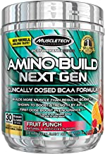 MuscleTech Amino Build Next Gen Energy Supplement, Formulated with BCAA Amino Acids, Betaine, Vitamin B12 & B6 for Muscle Strength & Endurance, Fruit Punch Splash, 30 Servings (284g)