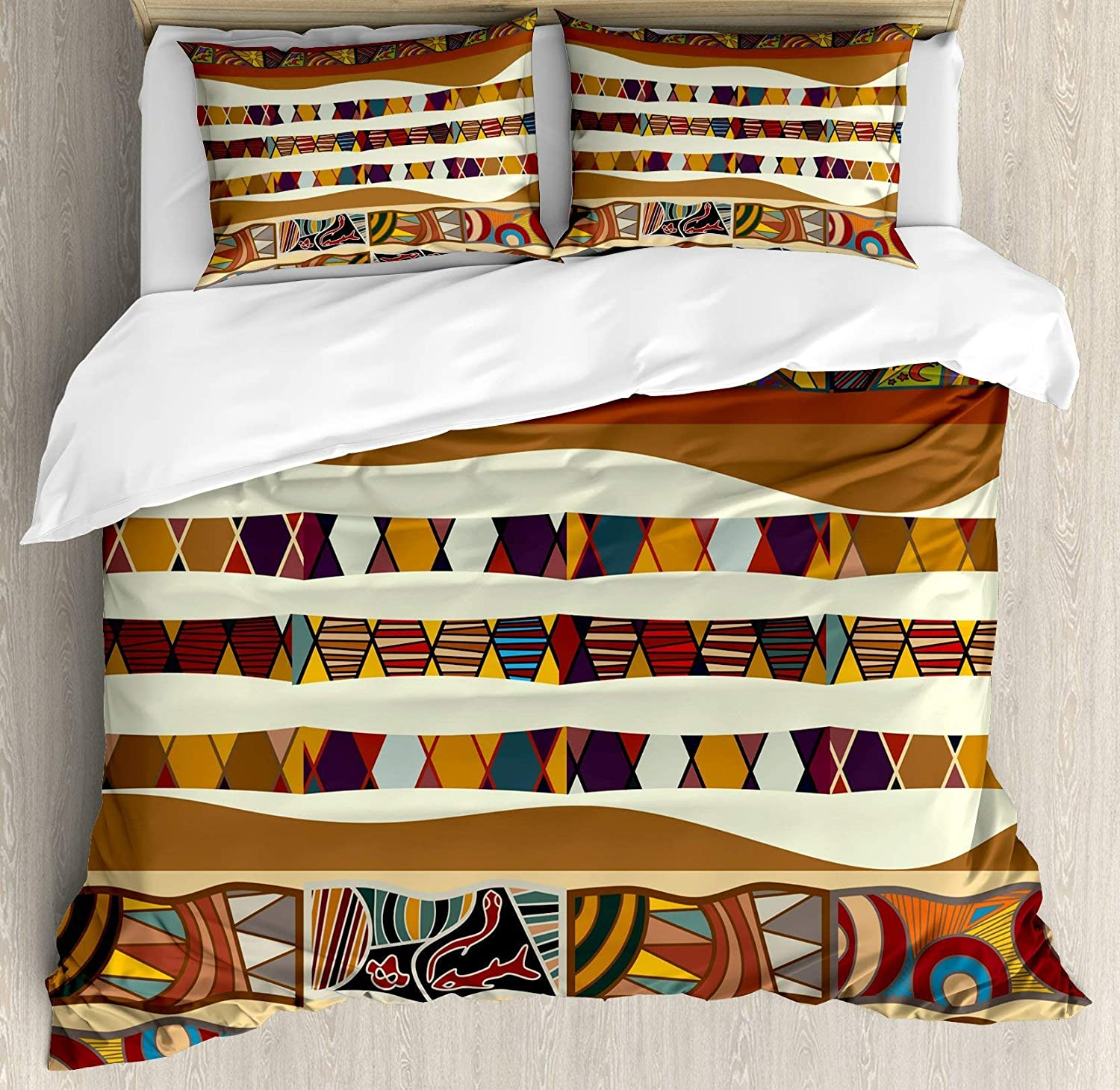 BULING Tribal 4pc Bedding Set King Size, Traditional African Folk with Cultural Featured Trippy Icons Boho Abstract Design Floral Lightweight Microfiber Duvet Cover Set, Multicolor