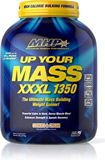 Maximum Human Performance MHP UYM XXXL 1350 Mass Building Weight Gainer, Muscle Mass Gains, w/50g Protein, High Calories, 11g BCAAs, Leucine, Cookies & Cream, 8 Servings, 6lb