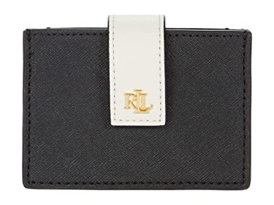 LAUREN Ralph Lauren Color-Block Accordion Crosshatch Card Case Medium (Black/Antique Gold/Vanilla) Handbags