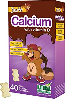 YUM-V's Calcium (300mg) with Vitamin D (400 IU) White Chocolate Flavored Bear Chewable, (40 count); Children's Daily Dieta...