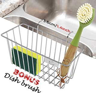 Elpida Maid Sink Sponge Holder for Kitchen Sink Caddy with Dish Brush Stainless Steel Soap Organizer Tray, Dishwashing Liquid Drainer Utensil Holder