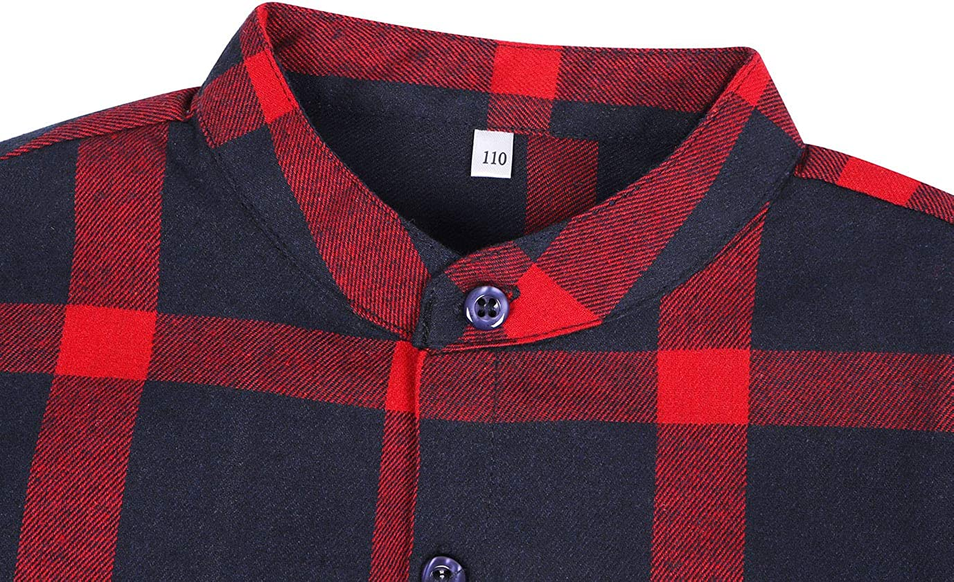 Edjude Boys Girls Plaid Shirt Long Sleeve Button Down Kids Clothing Unisex Cotton Brushed Casual Shirt Age 3-12 Years