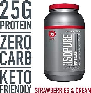Isopure Zero Carb, Keto Friendly Protein Powder, 100% Whey Protein Isolate, Flavor: Strawberries & Cream, 3 Pounds