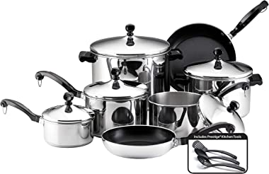 Farberware Classic Stainless Steel Cookware Pots and Pans Set, 15-Piece,50049,Silver