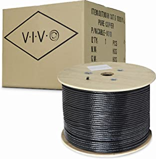 VIVO Black 1,000ft Bulk Cat6, Full Copper Ethernet Cable, 23 AWG | Cat-6 Wire, Waterproof, Outdoor, Direct Burial (CABLE-V010)