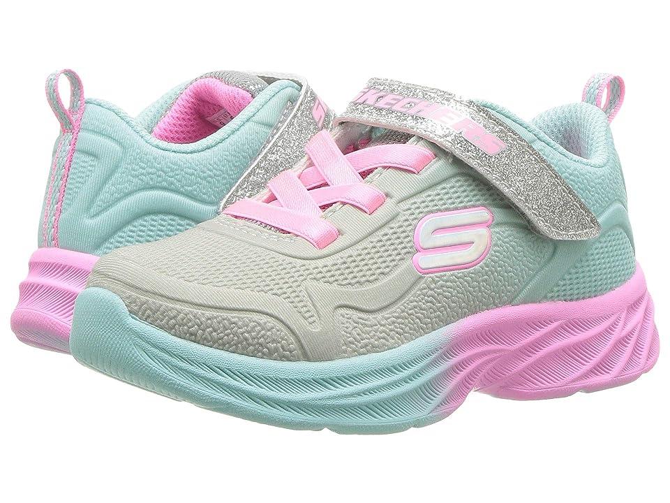 SKECHERS KIDS Sublimated Ombre Mesh Sneaker w/ Gore Strap (Toddler) (Grey/Aqua) Girl