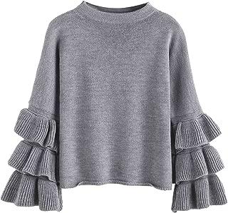 Women's Layered Ruffle Sleeve Pullover Sweater
